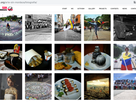 Screenshot of a gallery of art pieces featured by Sin Mordaza.